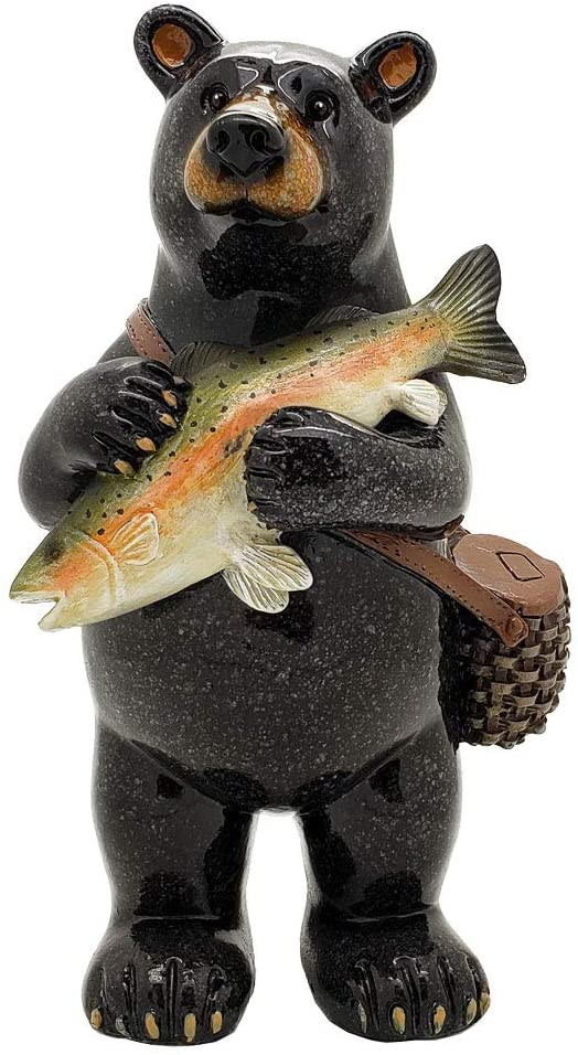 "Ebros Animal World Black Bear Fisherman Catching Bass Figurine 6.5""H Home Decor"