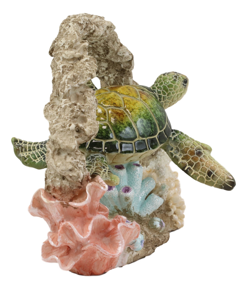 Larger Nautical Marine Green Sea Turtle Swimming By Coral Reef Decor Statue