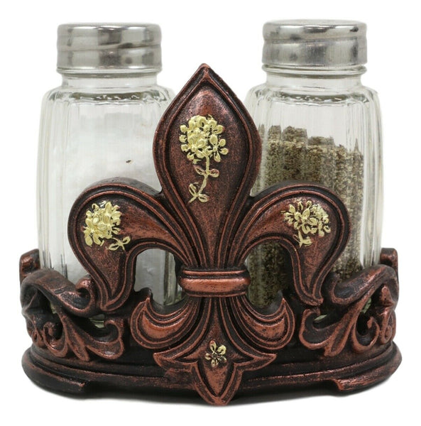 Ebros Rustic Western Tuscany Fleur De Lis Crown With Golden Flowers  Figurine Display Holder With Glass Salt And Pepper Shakers Home And Kitchen  Dining ...