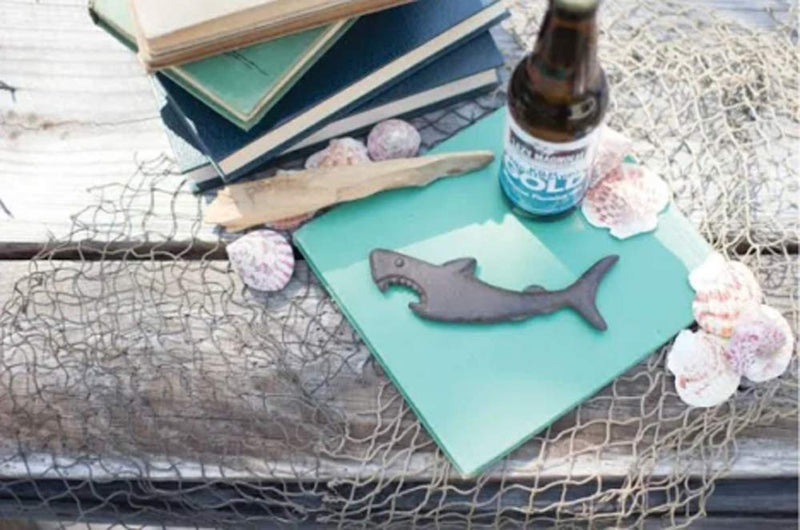 "Ebros Cast Iron Metal Nautical Coastal Attacking Jaws Great White Shark Soda Beer Bottle Cap Opener 6.5"" Long Rustic Bronze Finish Tide Beach Apex Predator Sharks Party Hosting Decor Accessory (1)"