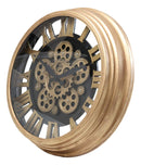 "Ebros Large Steampunk Mechanical Moving Gears European Classic Round Style Gold And Black Wall Clock 18""D Victorian Industrial Accent Fantasy Metal Clockwork Gearwork Clocks (Standard Roman Numerals) - Ebros Gift"