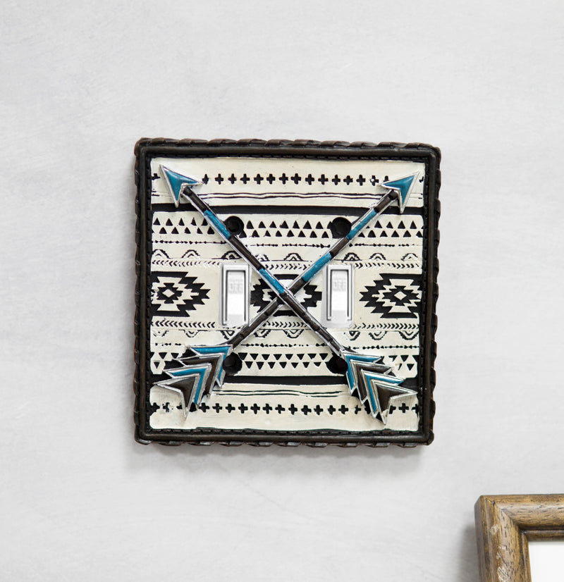 Set Of 2 Western Navajo Crossed Turquoise Arrows Wall Double Toggle Switch Plate