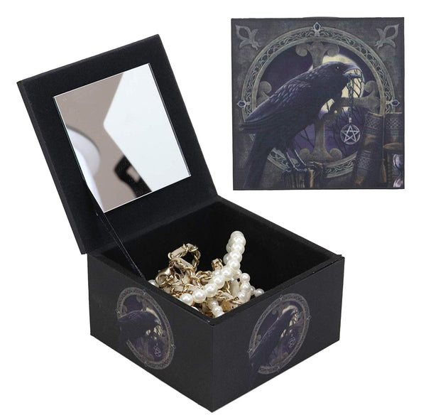 Ebros The Dark Raven Crow Harbinger of Doom Decorative Jewelry Box with Mirror Raven's Spell Mini Trinket Box Statue Gothic Macabre Ossuary Art Figurine As Halloween Decor Artwork by Lisa Parker
