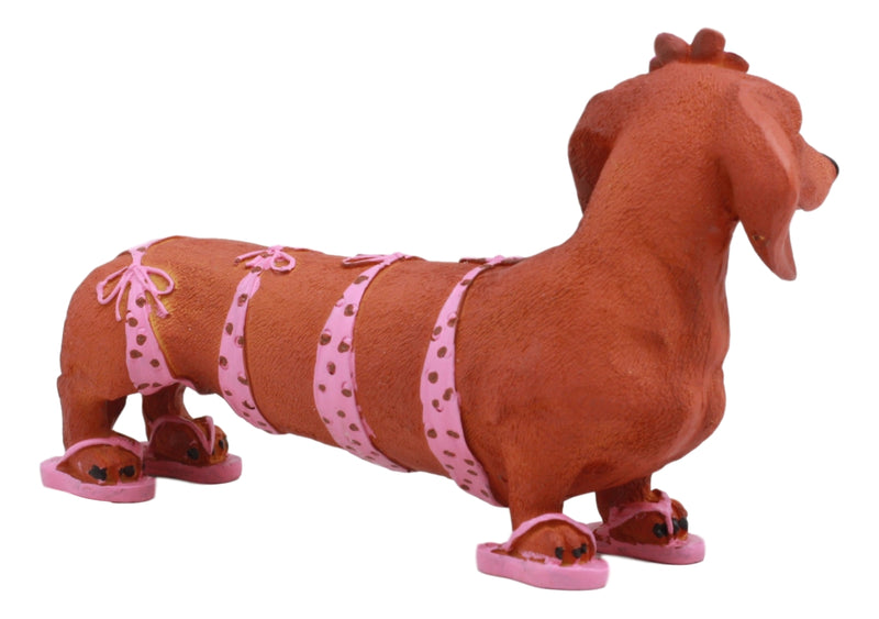 "Ebros Doxie Collection Pink Polkadot Bikini Beach Bod Sexy Dachshund Figurine 6""Long As Whimsical Wiener Dog Decor Collectible"