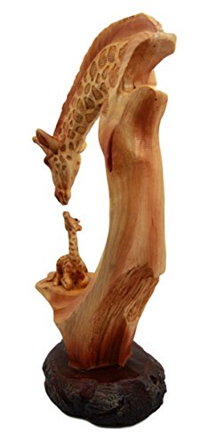 "Ebros 9.5"" Tall Wildlife Safari Giraffe Family Scene Decorative Figurine in Faux Wood Resin Finish Animal Totem Statue Home Decor Sculpture"