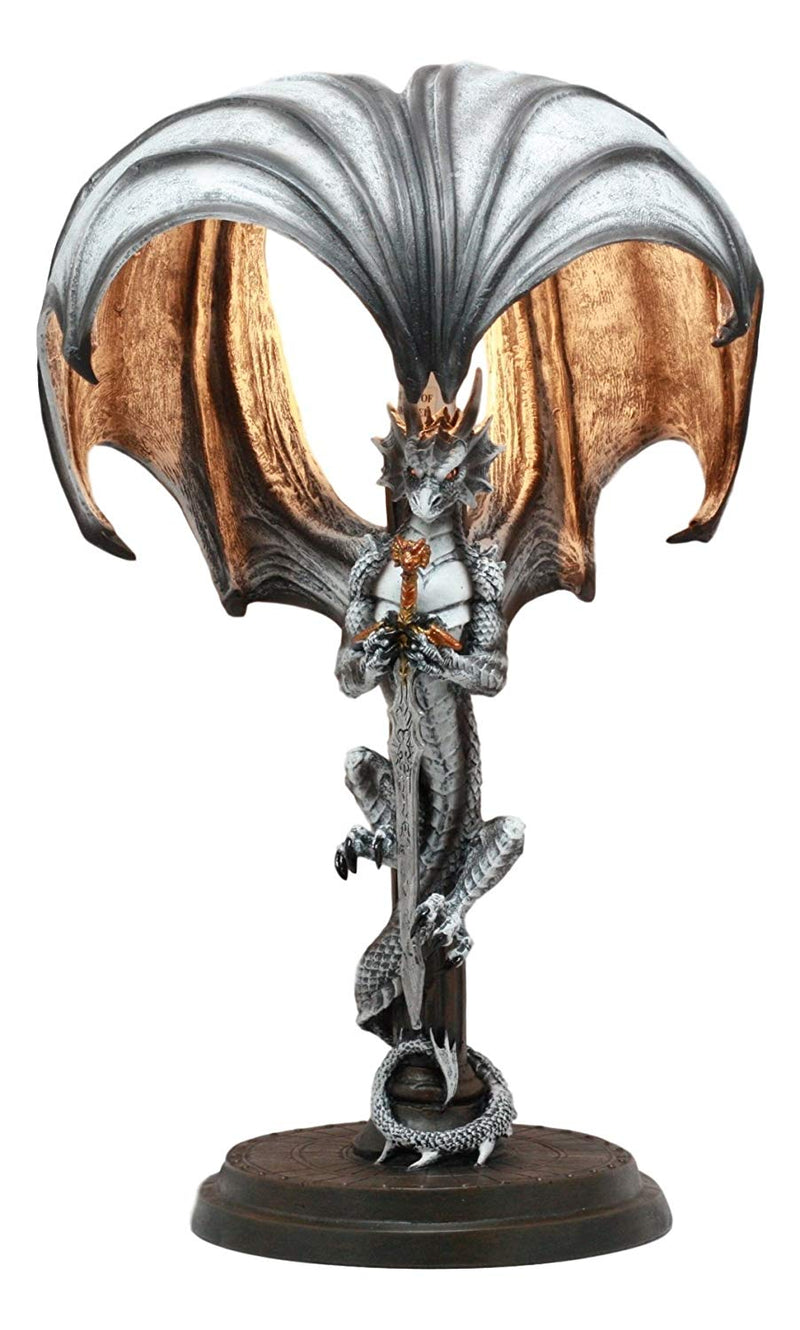 "Ebros Altar Drake Excalibur Sword Dragon Table Lamp Statue 17.5""Tall Fantasy Dragon Warrior Desktop Light Decor"