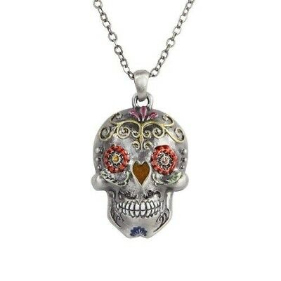 Ebros Day of the Dead Flower Sugar Skulls Necklace Jewelry