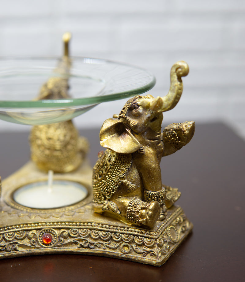 Feng Shui Golden Thai Buddha Elephants Trumpeting Candle Oil Warmer Statue