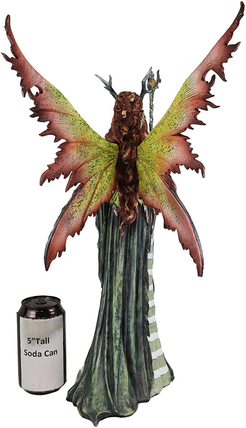 "Ebros Greenwoman Dryad Fairy with Merlin's Staff Statue 19"" Tall Amy Brown Fae"