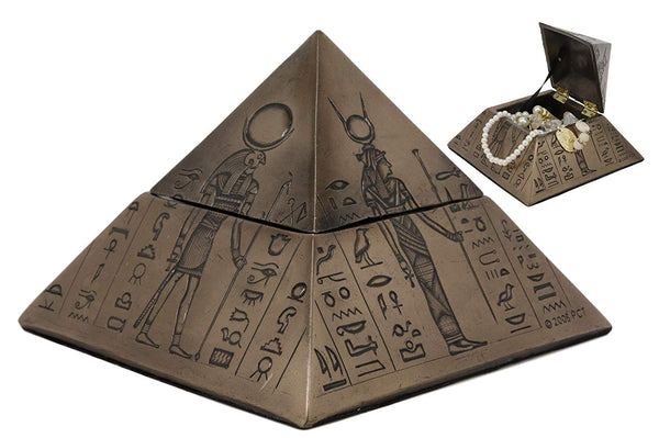 "Ebros Ancient Egyptian Deities Isis Sekhmet Horus Anubis Pyramid with Hieroglyphs Jewelry Box Figurine 6"" Wide Decorative Small Trinket Storage Desktop Table Decor Statue Gods of Egypt Monument"