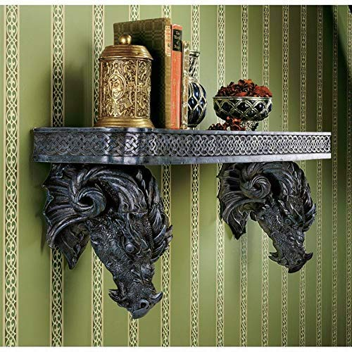"Ebros The Wolf Ram Medieval Dual Dragons Stoic Faux Stone Wall Hanging Floating Shelf with Celtic Knotwork Patterns 37.5"" Long Fantasy Dungeons and Dragon Themed Structural Decor"