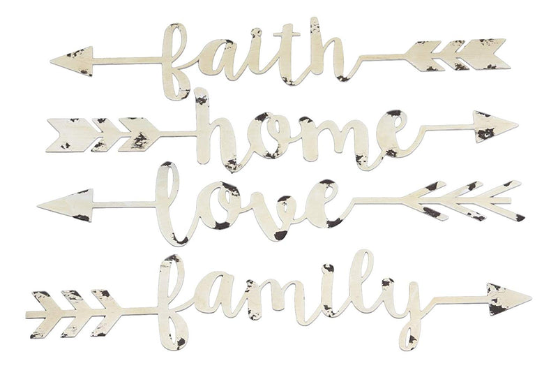 "Ebros 14.25"" Long Set of 4 Metal Wall Arrows Spelling Family Love Home and Faith in Cursive Script Sign Hanging Mount Decor Plaque Western Southwest Rustic Decorative Art Sayings - Ebros Gift"