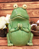 "Ebros 11.25"" Tall Lilypad Wishes Ceramic Whimsical Meditating Yoga Green Frog Home and Garden Statue Praying Frogs Decorative Sculpture Accent - Ebros Gift"