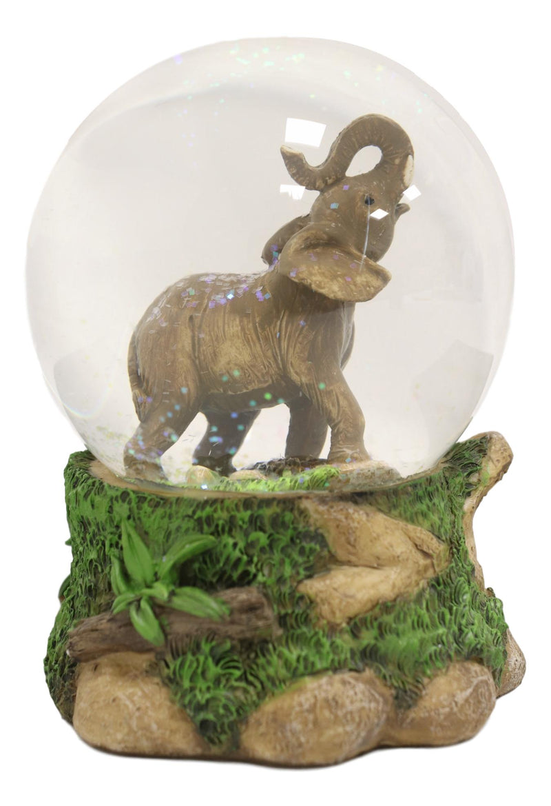 Safari Grasslands Savanna African Bush Elephant Glitter Water Globe Figurine