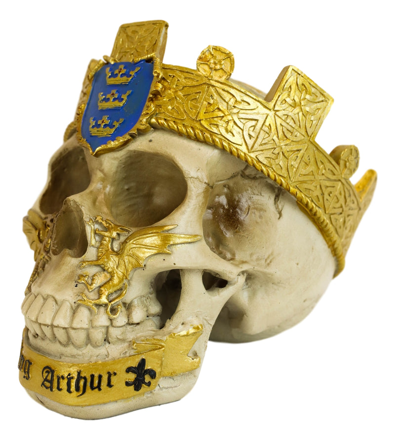 Matter Of Britain King Arthur And Excalibur Roundtable Knights Goth Skull Statue