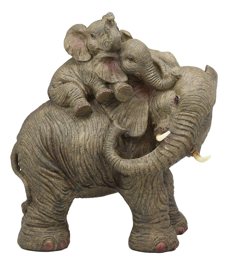 "Ebros Wildlife Elephant Father and 2 Calves On Piggyback Playing Statue 10.5"" Tall Resin Safari Elephants Family Figurine Sculpture Decor Gifts"