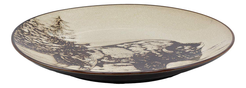"Ebros Bison Buffalo Abstract Art Large Square Dinner Plate Set of 2 10.75""D"