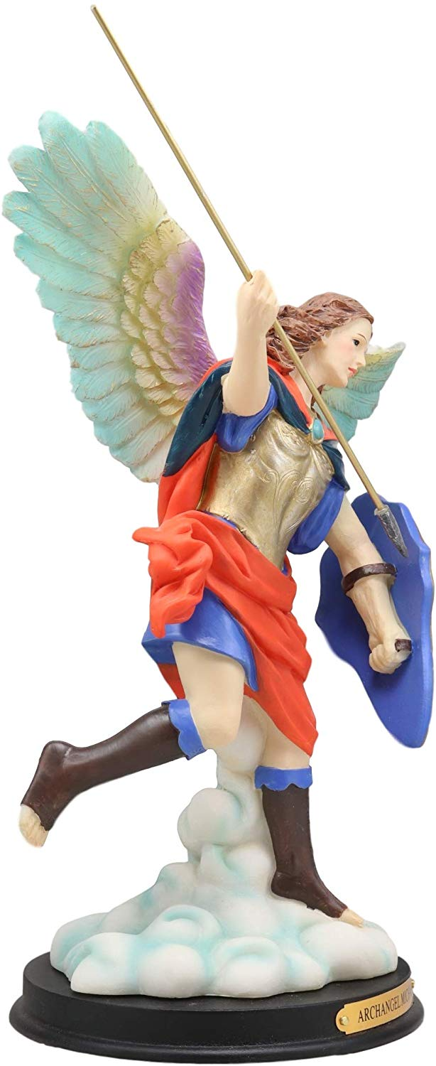 "Ebros Colorful Archangel Saint Michael Throwing Javelin Spear Statue 10"" Tall Champion Angel of God Guardian of The Church Battle of Armageddon Decor Altar Figurine"