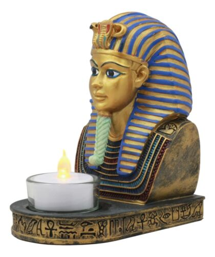 Ancient Egyptian King Ruler Pharaoh Tutankhamun Votive Candle Holder Statue