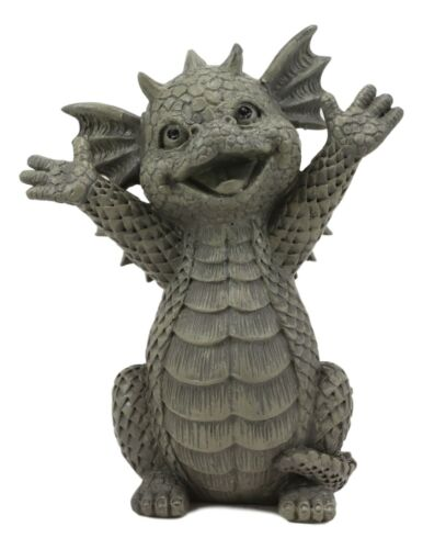Hug Me Please! Small Baby Garden Dragon With Wide Open Arms Statue Fantasy Decor