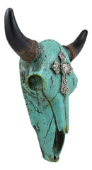 "Ebros 10.5"" Wide Western Southwest Steer Bison Buffalo Bull Cow Horned Skull Head Turquoise Silver Cross with Floral Lace Design Wall Mount Decor"