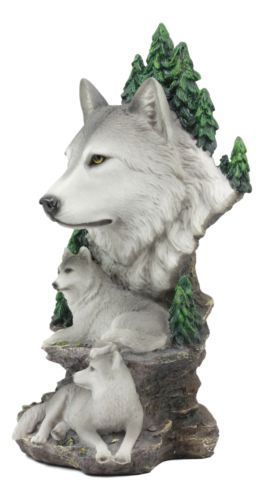"Mountain Scenery Gray Wolf Family Statue Timber Wolf Pack On Rocks 13""H Figurine"