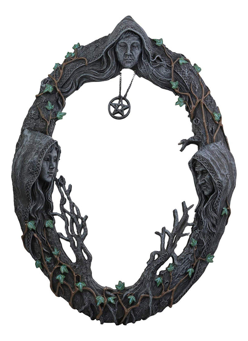 "Ebros Triple Goddess Mother Maiden Crone Wall Hanging Mirror Plaque 17"" Tall - Ebros Gift"