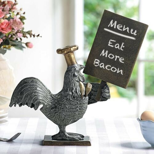 "Ebros Aluminum Whimsical Alpha Rooster with Chef Hat Holding A Menu Board Statue 13.5"" Tall Rustic Western Country Farm Cottage Chicken Hens Home Kitchen and Dining Countertop Table Decor Sculpture"