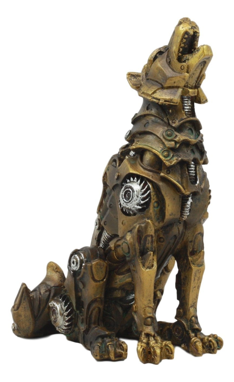 "Ebros Denizen Of Twilight Steampunk Wolf Howling Statue 6"" Tall Lycan Werewolf"