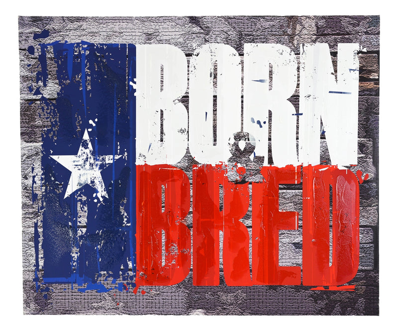 "Rustic Western Born And Bred Texas Flag Wood Frame Canvas Wall Art 19"" X 23"""