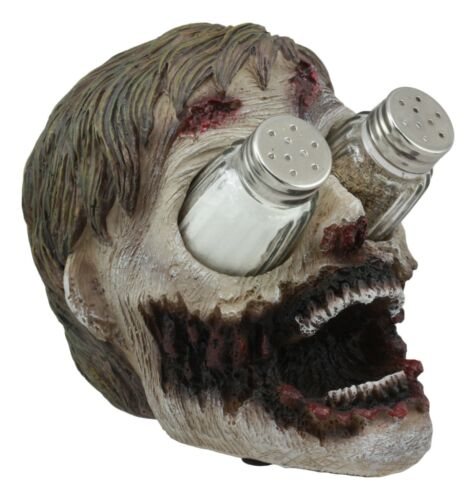"Ebros Zombie Salt and Pepper Shakers Holder Set with Glass Shakers 5.5"" H"