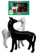 Romantic Black & White Horses Ceramic Magnetic Salt Pepper Shakers Set Figurine