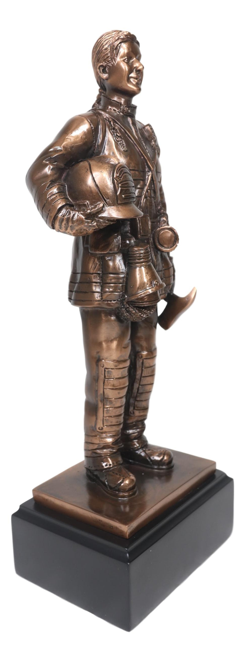 Fire Fighter Civil Service Firewoman With Helmet and Axe On Trophy Base Statue