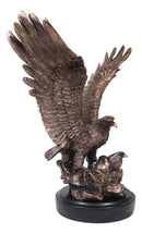 Large Wings Of Glory Bald Eagle Mother With Eaglets In Nest Electroplated Statue