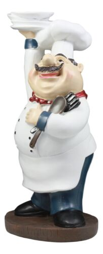 "Ebros Be Our Guest French Bistro Chef Holding Plates and Utensils Statue Kitchen Counter-top Decor Figurine 10.5"" H"