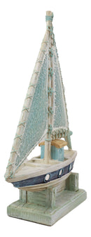 Nautical Marine Ship Sailboat At Dock Figurine With Mosaic Crushed Glass Sail