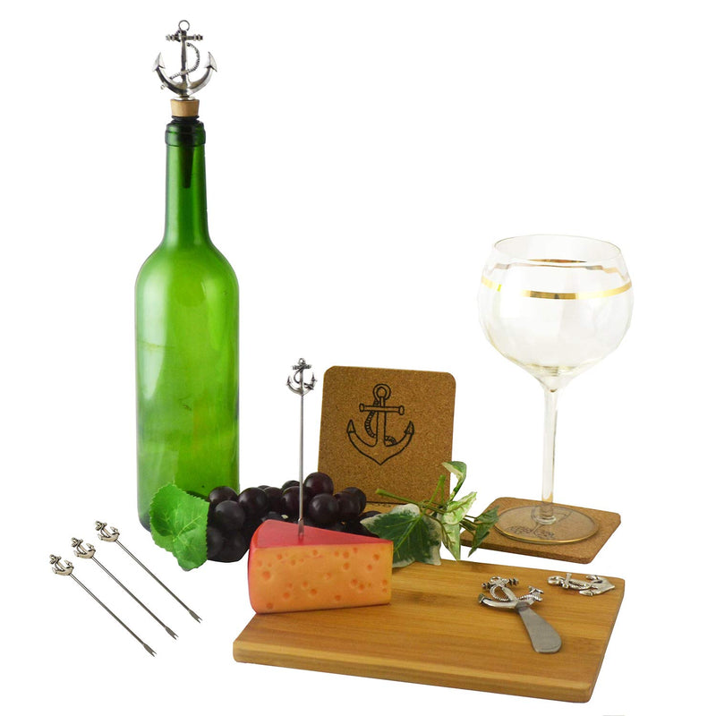 "Ebros Bamboo Wooden Cheese Board 8.75"" by 7.25"" with Knife, Wine Stopper, 4 Stainless Steel Cutlery Picks and Coasters Gift Set Idea for Birthdays Wedding Registry Housewarming (Nautical Anchors)"