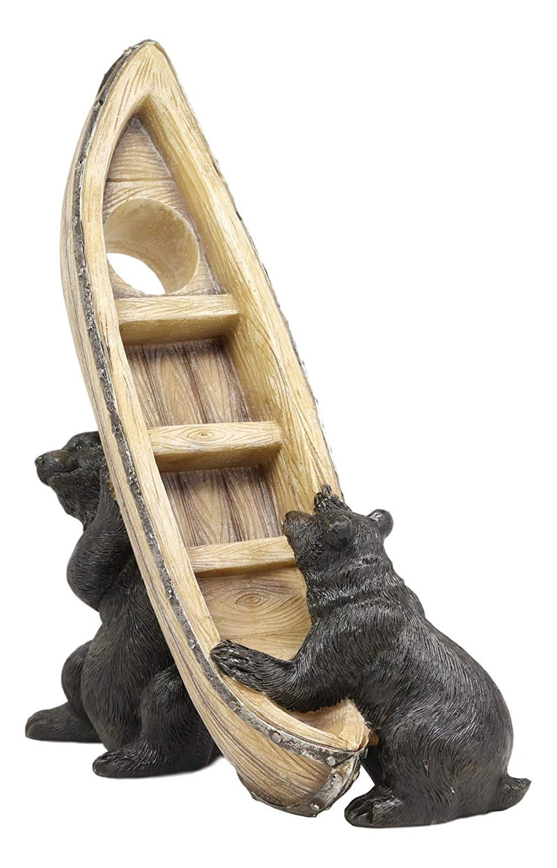 "Ebros Whimsical Rustic Decorative 2 Black Bears Joint Lifting A Canoe Boat Wine Holder Figurine 9.5"" High Bear Family Teamwork Storage Kitchen Organizer Decor for Cabin Lodge Cottage Western Home"