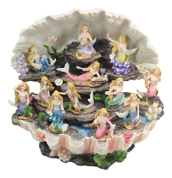 "Ebros 12.25"" Wide Colorful Nautical Ocean Giant Clam Shell of The Coral Reefs Display Stand with 12 Miniature Mermaids Figurine Set Fantasy Mermaid Mergirls Sirens of The Seas Housing Fairy Garden"
