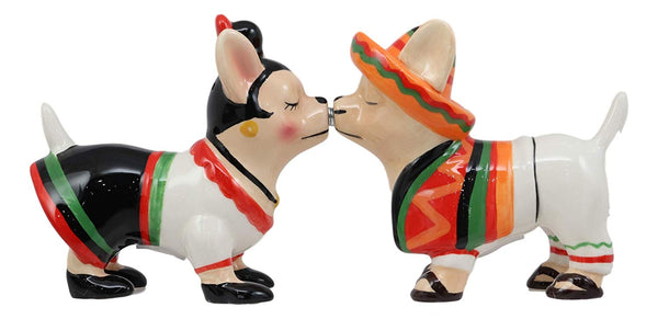 Ebros Chi Chi Chi Kissing Mexican Chihuahua Pet Dog With Sombrero Hat And Serape Couple Magnetic Salt And Pepper Shakers Set Ceramic Figurines Party Kitchen Tabletop Collectible Decorative Prop