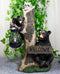 Forest Black Bear Mama And Cub With Raccoon Welcome Sign Solar LED Light Statue