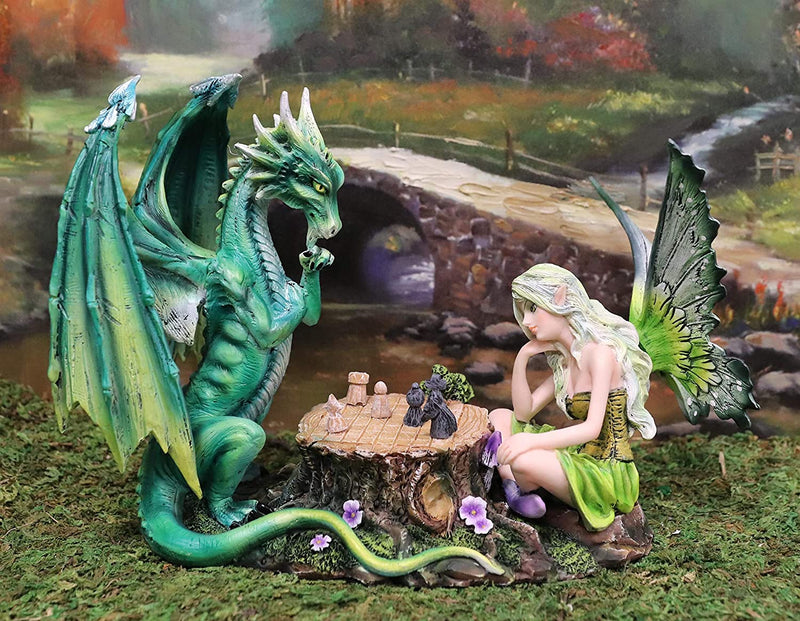 "Ebros Amy Brown Elf Green Fairy with Red Dragon On Wood Logs Seesaw Statue 8.5""H"