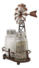 "6.5""H Rustic Country Farm Windmill Outpost Salt And Pepper Shakers Display Set"