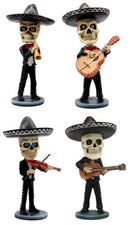 Ebros Day Of The Dead Skeleton Wedding Mariachi Band Guitar Violin Guitarron And Trumpet Player Bobblehead Figurine Set Traditional Folklore Mexican Musician Band Sculpture