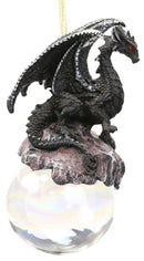 "Ruth Thompson Check Mate Black Dragon On Pearl Glass Ball Ornament Figurine 5""H"
