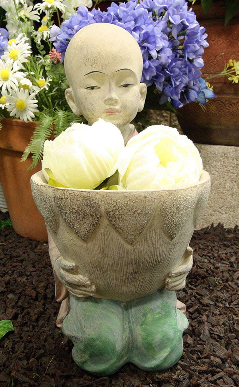 "Ebros 13.5"" Tall Jizo Buddha Monk Kneeling with Planter Pot Flower Vase On Lap"
