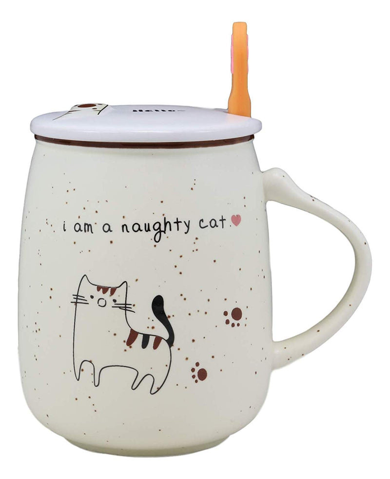 Ebros Whimsical Naughty Calico Kitty Cat Porcelain Coffee Tea Mug Drink Cup With Paw Handle Spoon And Hello Greeting Paw Print Lid 16oz Kittens Or Cats Mugs For Kids and Adults
