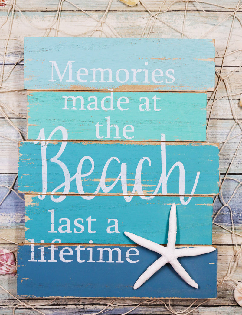 "Memories Made At The Beach Last A Lifetime Starfish Wooden Wall Decor Sign 12""H"