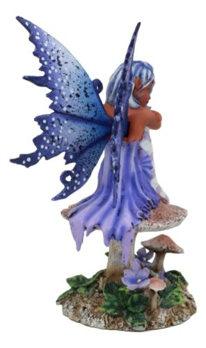 "Ebros Amy Brown Art Gothic Manga Violet Tribal Ebony Fairy Collectible Statue As Fantasy Faerie Magic Sculpture Or Desk Shelf Centerpiece Figurine Or Mini Fairy Garden Accessory 6.5""Tall"
