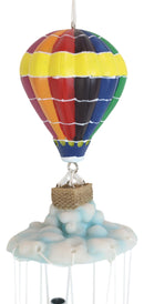 Hot Air Balloon Aircraft With Wicker Basket Above Clouds Wind Chime Figurine